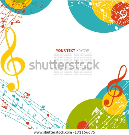colorful musical background - stock vector