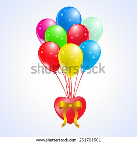 Colorful Party shiny balloons whit Heart.vector Illustration - stock vector