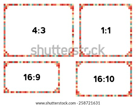 4 colorful pixel frames in nice colors for different resolutions - stock vector