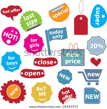 20 colorful shopping labels # 20 - vector set