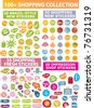 100 colorful shopping stickers, icons, signs, vector illustrations - stock vector