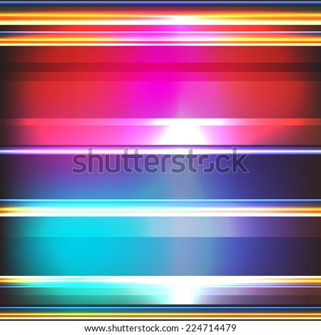 Colorful stripes on a dark background. Abstract glowing background. Vector illustration for your business presentations.  - stock vector