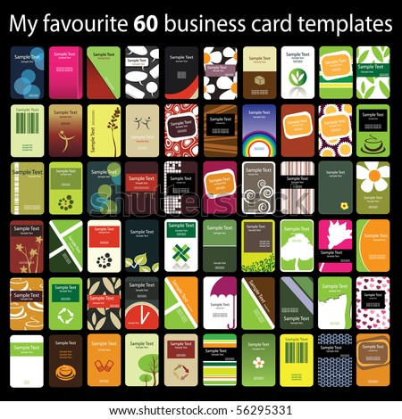 60 Colorful Vertical Business Cards - stock vector