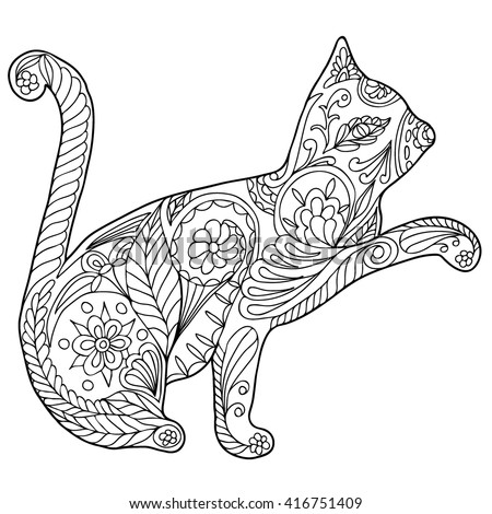 Finished Adult Coloring Cat Coloring Pages