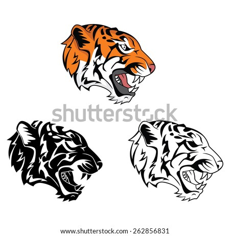 Coloring book Tiger Face cartoon character - stock vector