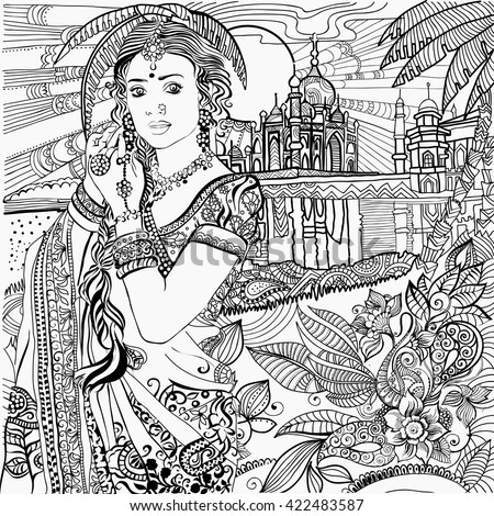 Coloring pages india indian woman stock vector 422483587 Coloring books for adults india