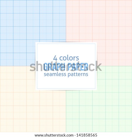 4 colors real size millimeter paper vector patterns set - stock vector