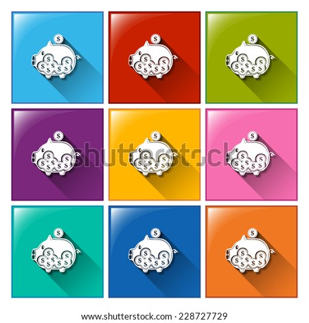 Colourful buttons with piggy banks on a white background - stock vector