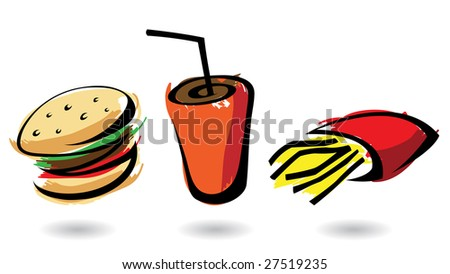 3 colourful fast food icons, isolated illustrations - stock vector