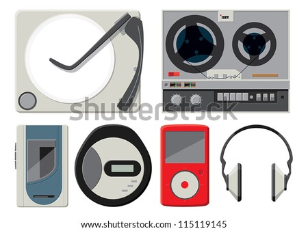 6 colourful vector music players - stock vector