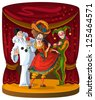 Columbine, Harlequin and Pierrot - theater comedian characters. The personages of Italian comedy del arte in bright clothes on curtain scene background. Also available raster version - stock