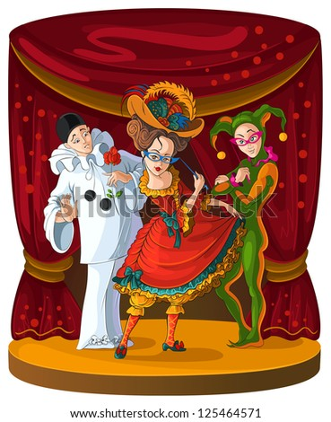 Columbine, Harlequin and Pierrot - theater comedian characters. The personages of Italian comedy del arte in bright clothes on curtain scene background. Also available raster version - stock vector