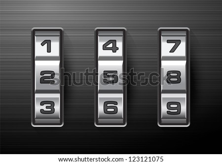 Combination lock - number code. EPS-10 - stock vector