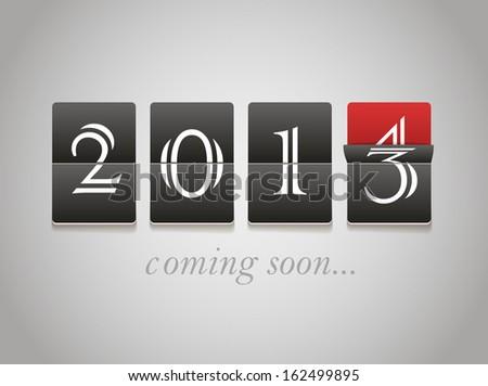 2014 coming soon. Digital board - stock vector