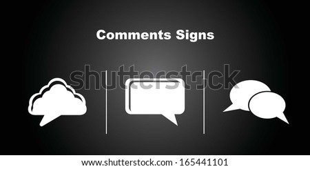 3 Comments Icons on Black Background. - stock vector
