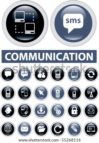 24 communication buttons. vector - stock vector