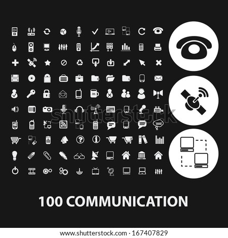 100 communication, connection icons set, vector - stock vector