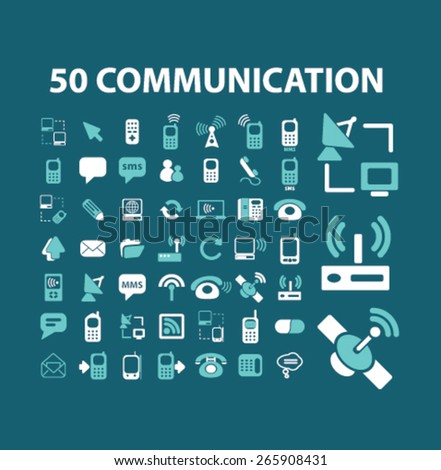 50 communication, connection icons, signs, illustrations design concept set for appliciation, website, vector on white background - stock vector