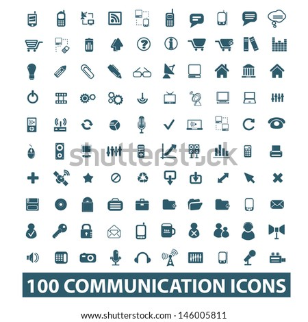 100 communication, connection icons, signs set, vector - stock vector