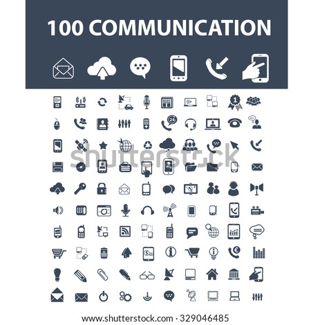 100 communication, connection, internet, technology icons - stock vector