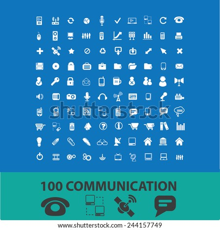 100 communication, connection, network icons, signs, illustrations on background, vector set - stock vector