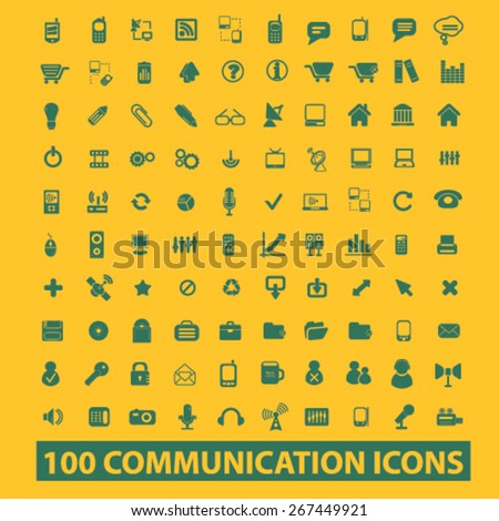100 communication, connection, technology isolated web icons, signs, illustrations concept design set, vector - stock vector