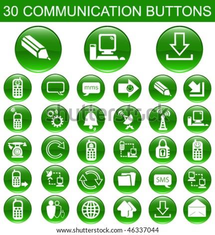 30 Communication Green Buttons Set - stock vector