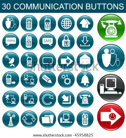 30 Communication Icon Set for Web Applications - stock vector