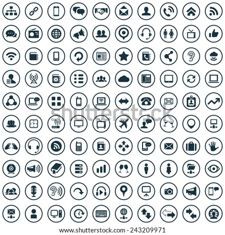 Free download icons for business cards choice image card design 100 communication icons big universal set stock vector 243209971 100 communication icons big universal set reheart reheart Images