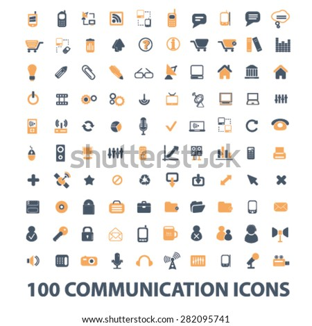 100 communication icons, signs, illustrations set, vector - stock vector