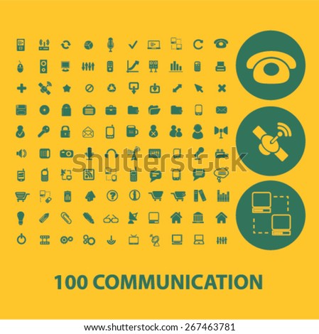 100 communication icons, signs set, vector - stock vector