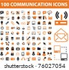 100 communication icons, vector - stock vector