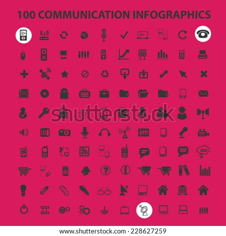 100 communication infographics black isolated icons, signs, symbols, illustrations set, vector - stock vector