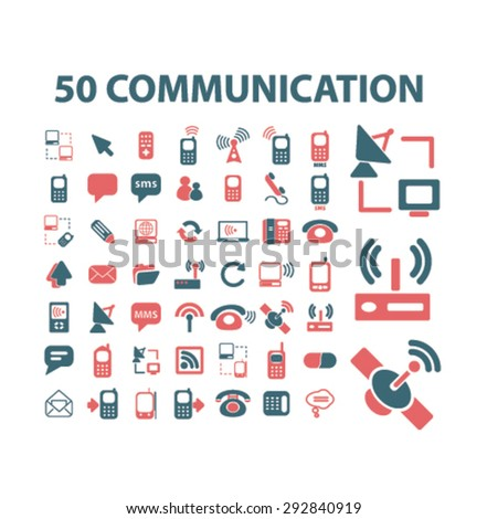 50 communication, phone, connection isolated vector icons - stock vector