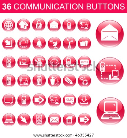 36 Communication Pink Glossy Buttons Set - stock vector