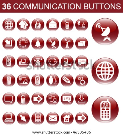 36 Communication Red Glossy Buttons Set - stock vector