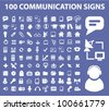 100 communication signs set, vector - stock vector