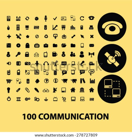 100 communication, technology black icons, signs, illustration set, vector - stock vector