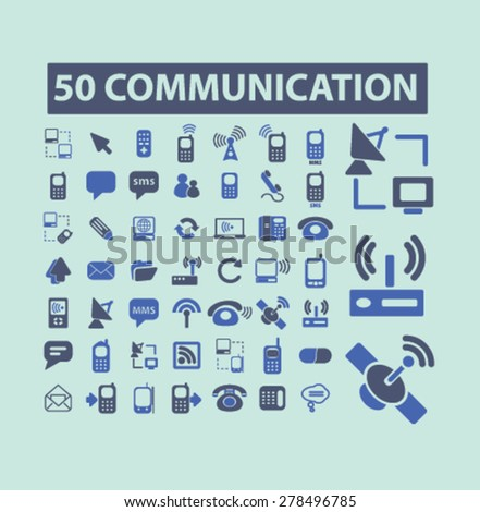 50 communication, technology, connection icons, signs, illustrations set, vector