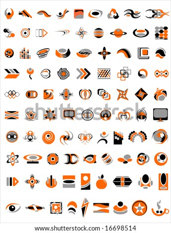 90 company logos , design elements vector illustration - stock vector