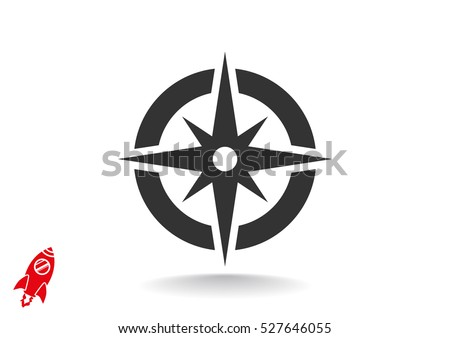 Compass icon flat.