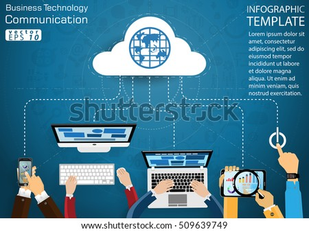 Computer Cellphone Tablet Laptop Technology Business Communication across world modern Idea and Concept Vector illustration Infographic template with Magnifier, icon.