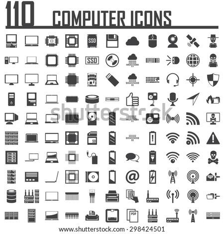 110 computer icon  - stock vector