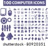 100 computer icons, signs, vector illustrations - stock vector