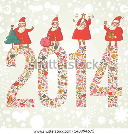 2014 concept New Year background. 2014 made of bright flowers with funny Santa and gifts on top in vector - stock vector