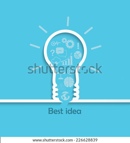 Concept of big ideas inspiration innovation, invention, effective thinking, text, vector. - stock vector