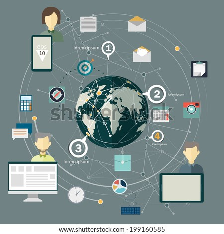 Conceptual vector Design template. infographics element. Flat design concept for social network. - stock vector