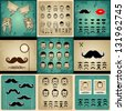 """""""Conjunto de tarjetas vintage de caras de chicas y hombres. caras de muchachas con pelo, gafas de sol y la forma de los labios. Caras de hombre con bigotes, gafas de sol, gafas y una pajarita"""" - stock vector"""