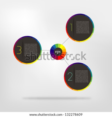 Connected circle speech diagram. colorfull vector infographic - stock vector