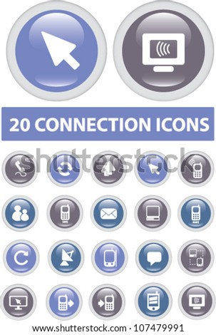 20 connection buttons, icons set, vector